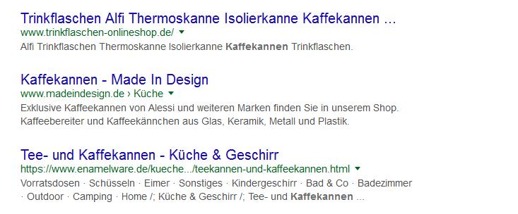 Beispielansicht einer Meta Description in der google Suche